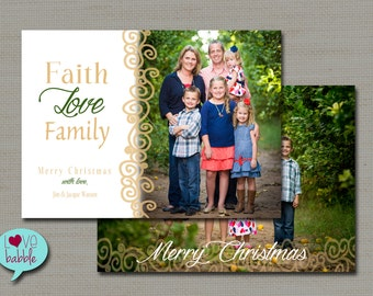 Christmas Holiday Photo Card, religious christian gold green, Multiple photos, two sided - PRINTABLE DIGITAL FILE - 5x7