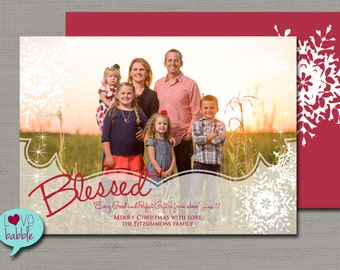 Christmas Holiday Photo Card, Blessed Snowflakes - PRINTABLE DIGITAL FILE - 5x7 Includes red backside.
