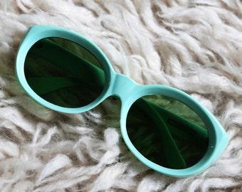1960s Italian aqua sunglasses