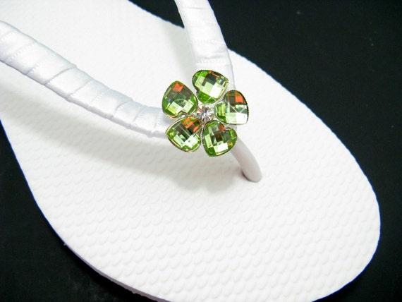 Bridal Flip Flops Green Wedding Flip Flops White By FlipFlopBay