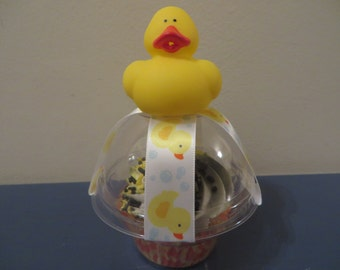 REDUCED PRICE - Rubber Ducky Birthday Party cupcake favors.- yellow duck w/plastic cupcake containers ready to add your cupcakes or goodies.