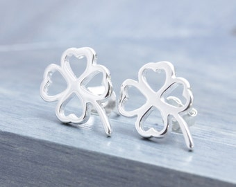 925 stering silver shiny 4 hearts clover stud earrings, gift for her, bridesmaid gift (E_00026)