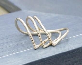 3 pcs14 k gold filled chevron stacking rings