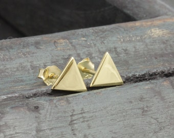 925 vermeil gold simple triangle stud earrings (R_00015)