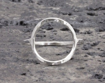 925 stering silver big open circle hammered band ring