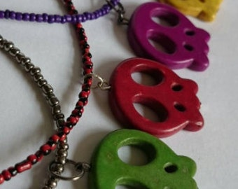 Skull pendant necklace - Handmade in the UK (choice of colours)