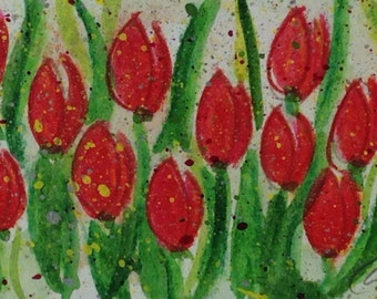 Red Tulips - Hand Painted Original Artwork in White Mat - Ready to Frame - One of a Kind Mixed Media Miniature Painting