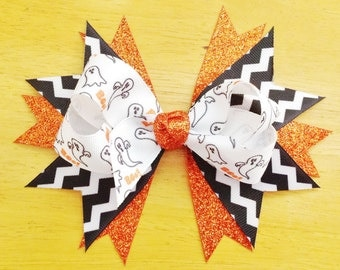 Ghost Orange and Black Chevron Halloween Twisted Stacked Hair Bow