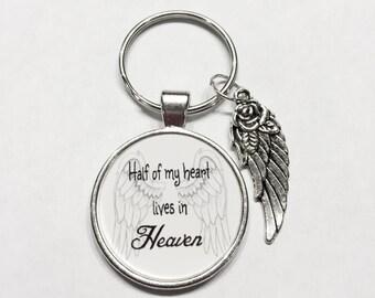 Half Of My Heart Lives In Heaven Guardian Angel In Heaven Memory Wing Miss You Keychain
