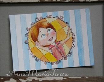 Up, Ellie - handpainted postcard.