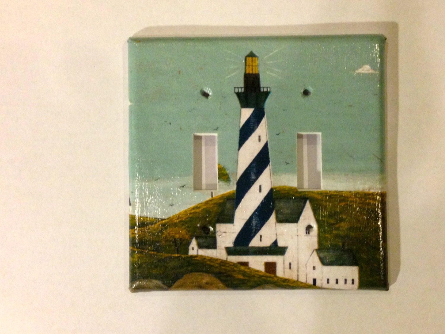 Handcrafted light switch cover with lighthouse design for Lighthouse switch plates
