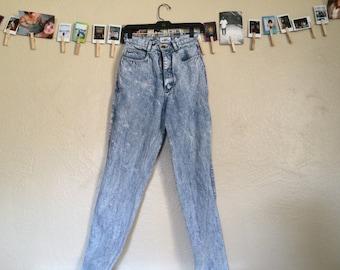 80's High waist acid washed jeans