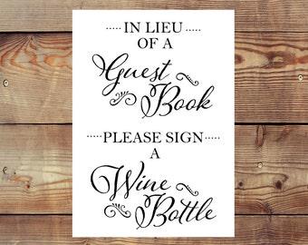 INSTANT DOWNLOAD Printable Please Sign a Wine Bottle Guest Book Sign Digital File