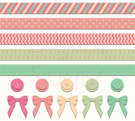 Digital Border Button Clip Art Ribbon Bow Clipart by DigitalSugar