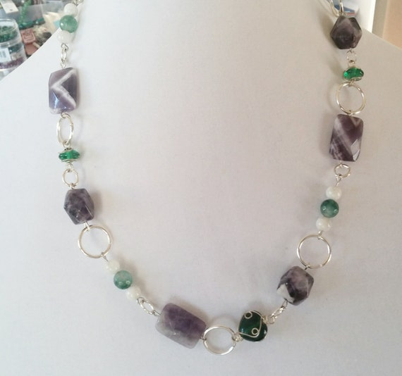 emerald and amethyst matinee necklace