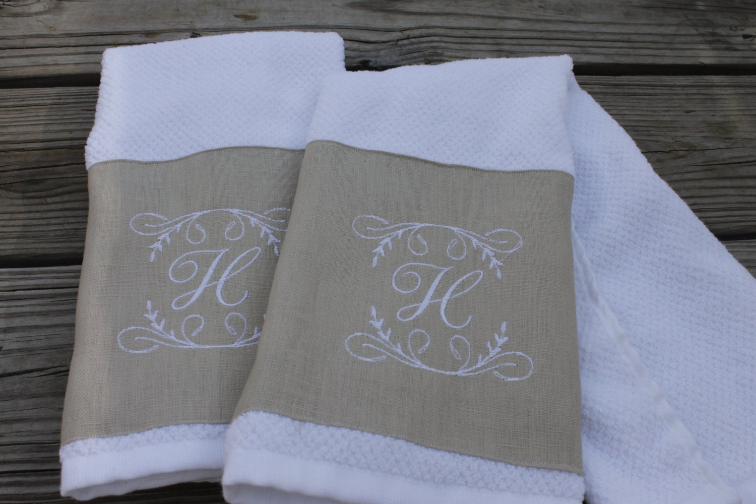 2 Monogrammed Kitchen Towels Hand Towels
