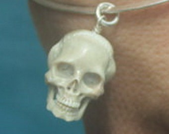 Hand carved Bone Skull with silver wrap + silver open jump ring, Handmade buffalo skull charm