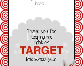 Target 5X7 Printable Teacher Thank You Gift- Target Gift Card Holder Stocking Stuffer- Teacher Holiday Gift
