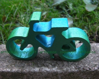 Wooden Bicycle, 10cm x 6cm, Green Blue