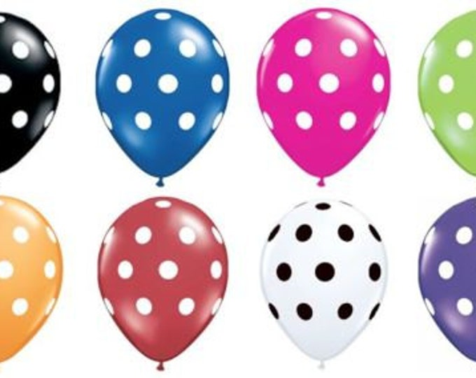 Polka Dot Latex Balloons FAST shipping USA - 12 Inch - Quantity of 10 Red, Lime Green, Royal Blue, Purple, Pink, Black, White