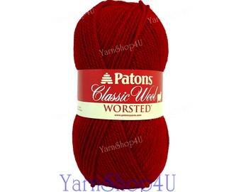BRIGHT RED Patons Classic Wool yarn, Felting yarn medium worsted weight pure wool yarn Feltable Red yarn wool 3.5 oz 100g 210yds COLOR 00230