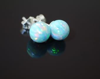 Green Fire Opal Stud Earrings on 925 Sterling Silver