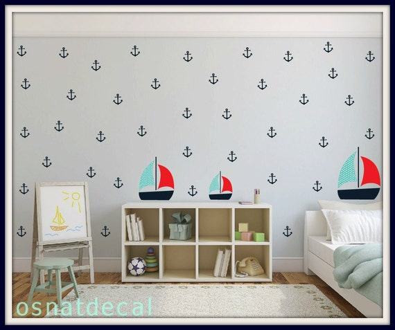 FREE SHIPPING Wall Decal 71 Anchors With 3 Boats Home Decor Nursery Wall Sticker Color Blue Red And Light Blue