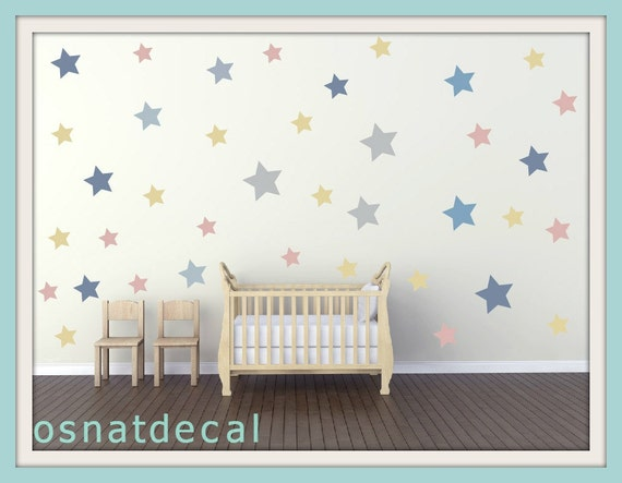 FREE SHIPPING Wall Decal 5 Different Size of 80 Stars Pastel Colors. Home Decor.Nursery Wall Sticker. Diy