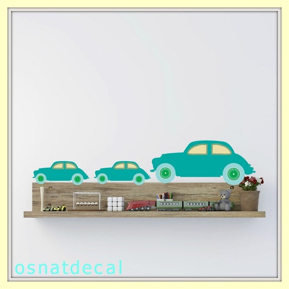 FREE SHIPPING Wall Decal 3 Big Retro Cars &4 Small Cars. Turquoise Color. Nursery Wall Decal. Diy, Wall Art, Vinyl Wall Decal