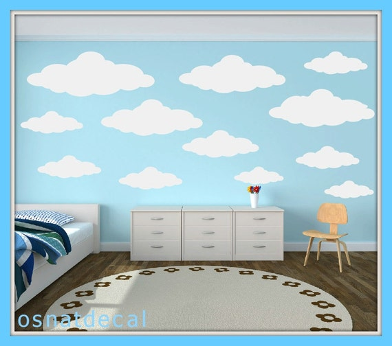 FREE SHIPPING Wall Decal 34 Different Sizes Of light Gray clouds. Nursery Wall Decal. Vinyl Wall Decal. Diy Sticker.Kids Wall Decal