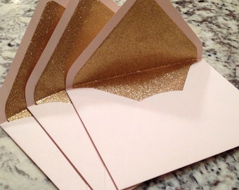 Luxe Blush A7 5x7 Gold Glitter Lined Envelopes - Pale Pink Paper Source Envelopes
