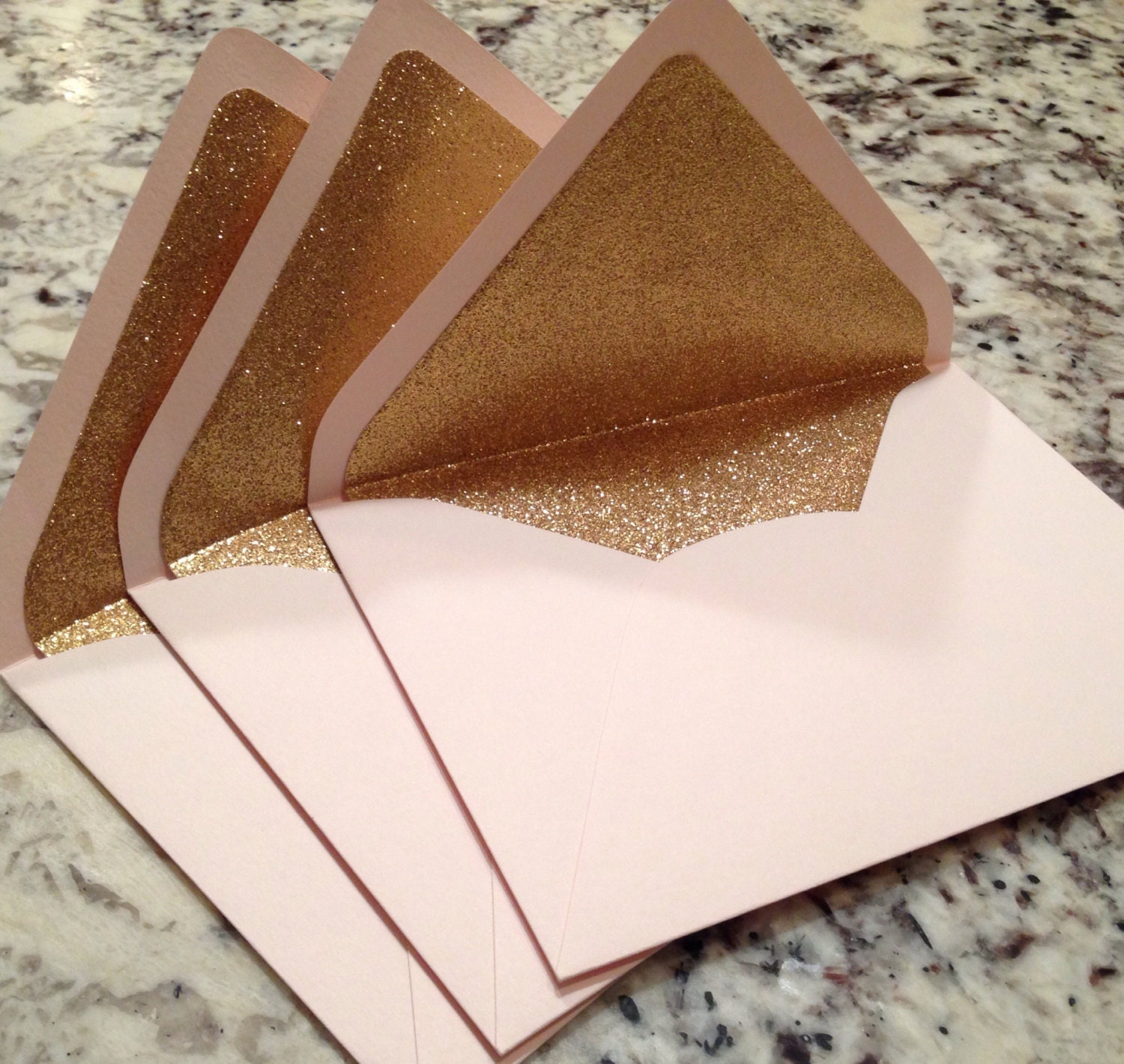 luxe blush a7 5x7 gold glitter lined envelopes pale pink. Black Bedroom Furniture Sets. Home Design Ideas