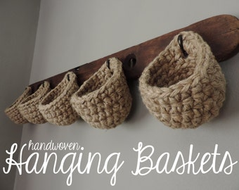 Eco Friendly Jute Hook Storage Basket for Closet, Cabinet, Sturdy Rustic Hanging Pouch, Plant Hanger, Stocking by RusTiqueAgeHome