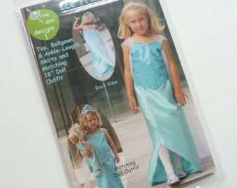 "Ice Princess Pattern OAD94 Olive Ann Designs, Girls Dress Pattern, 18"" Doll Pattern, Dress, Skirt, Ballgown, 2 - 8, Princess Pattern"
