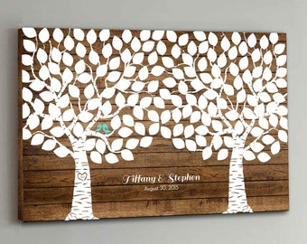 175 Guest CANVAS Wedding Guest Book Wood Two Double Tree Wedding Guestbook Canvas Alternative Guestbook Canvas Wedding Guestbk - Wood design