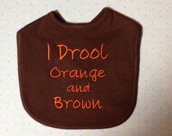 Cleveland Browns Drool Orange & Brown Baby Bib FREE SHIPPING!