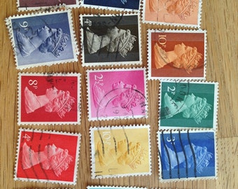 Queen of England colorful stamps from the 60s and 70s