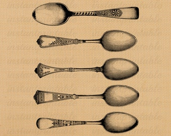 Spoons image, instant download, printable iron on fabric transfer, downloadable images, clip art, scrapbooking - no. 215