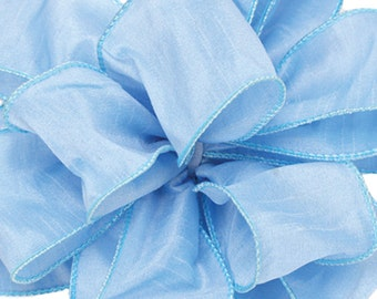 Offray Anisha Wire Edge Ribbon - SKY BLUE  - Beautiful Ribbon - Great for Decor, Craft Projects, Weddings, and More!
