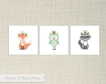 "Woodland Nursery Art  .  Woodland Animals  .  Art Poster . 5"" x 7"" .  INSTANT DOWNLOAD"