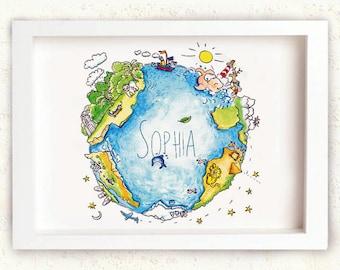 "Blue Globe for Kids - Sea - Name print-  Personalised Illustration - 8 x 11"" - fits Ikea frame - Nursery decor - Babyshower- Kids wall art"