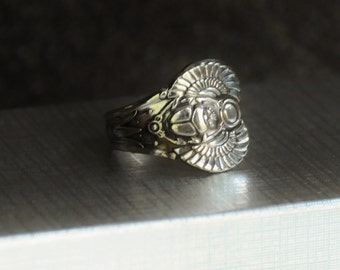 egyptian ring, antique ring, spoon ring, scarab  ring, beetle ring, bug ring, 1909 ring, silver plate ring
