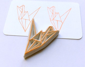 Origami stamp. Rubber stamp. Hand carved stamp. Mounted.