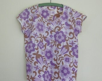 Floral T shirt Top // Handmade Floral Purple //  Reclaimed Eco Clothing Romantic // UK Size 8 - 12