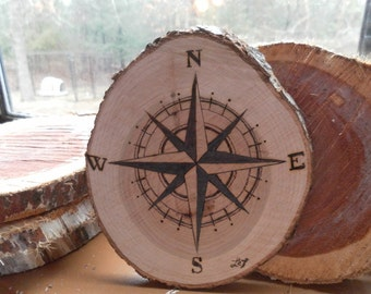 Wood-Burnt Compass Rose Wood Slice