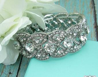 Bridal bracelet, braided rhinestone wedding bracelet, crystal bracelet, bridal jewelry, wedding accessories, bridesmaid bracelet, 209140027