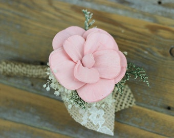 Groom Boutonniere, Wedding Boutonniere,Sola Flower Boutonniere,Baby Pink Boutonniere,Burlap Boutonniere,Rustic Boutonniere,Keepsake Bout