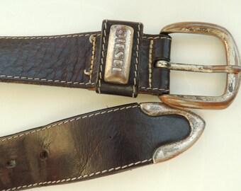 SALE - 10 dollars - Vintage DIESEL Dark brown leather belt with metal buckle, size xs/s