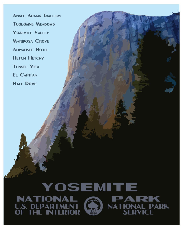 National Park Posters Yosemite National Park Poster: Yosemite National Park Travel Poster El By PurpleMooseBasics