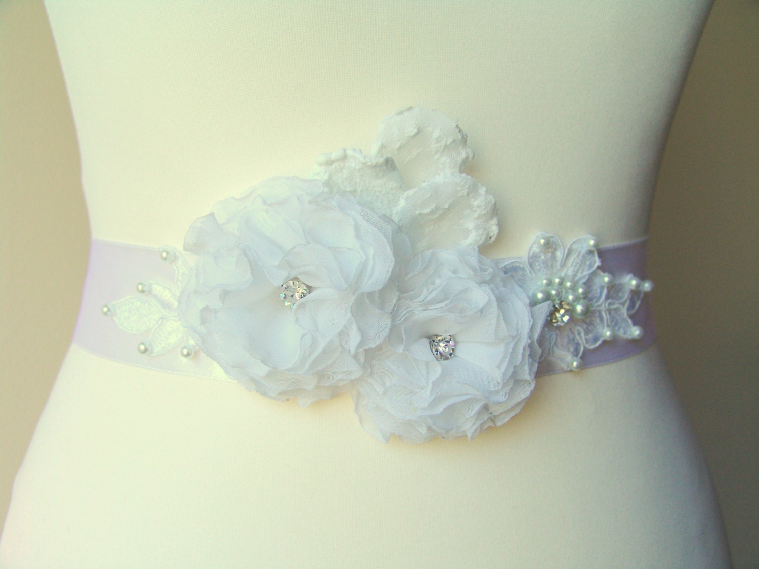 Bridal sash belt White Floral Sash Satin Flowers by